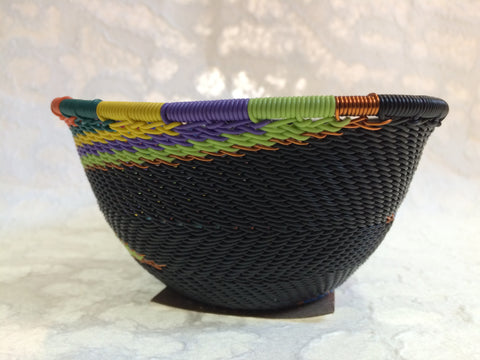 Telephone Wire Basket - Small, Triangular, Dark Rainbow Bowl