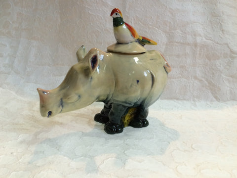 Ceramic Bowl - Bird on a Rhino