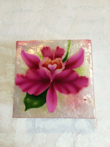 Small Capiz Shell Box - Large Pink Orchid