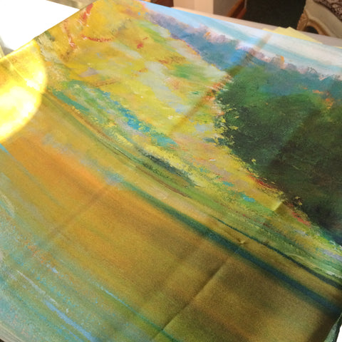 Silk Scarf - Yellow, Green, & Blue Painted