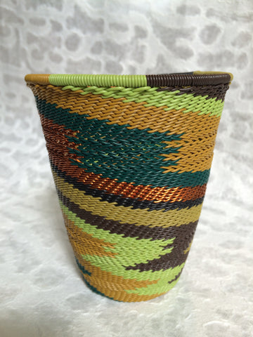 Telephone Wire Basket - Tall, Round, Earthy Rainbow
