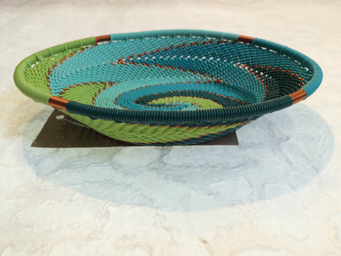 Telephone Wire Basket - Large, Round, Blue, Green, & Copper Bowl