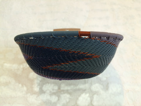 Telephone Wire Basket - Small, Round, Blue, Purple, & Copper Bowl