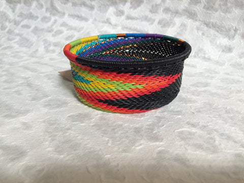 Telephone Wire Basket - Small, Round, Dark Rainbow Bowl