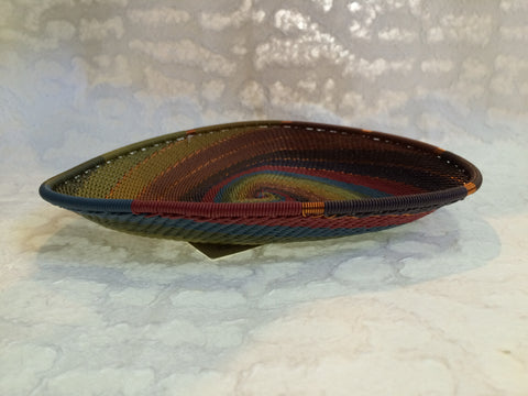 Telephone Wire Basket - Large, Triangular, Earthy Rainbow Plate
