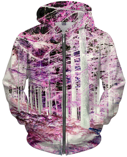 Pink Forest Zip-Up Hoodie