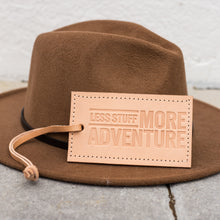 Less Stuff More Adventure Leather Luggage Tag