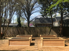 four tall and trimmed garden beds aligned and ready for planting!