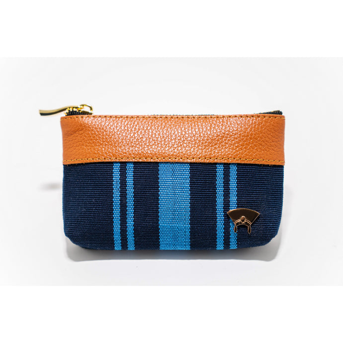 Ola Mini Pouch - Blue + Brown (Vertical Stripes)