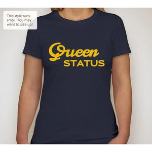 Navy Queen Status T-shirt on Model
