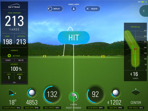 Skytrak Game Improvement Plan - measure your game and performance metrics from ball spin rates, speed, dispersions, angle of launch as well bag mapping all your clubs statistics and many more practice options.