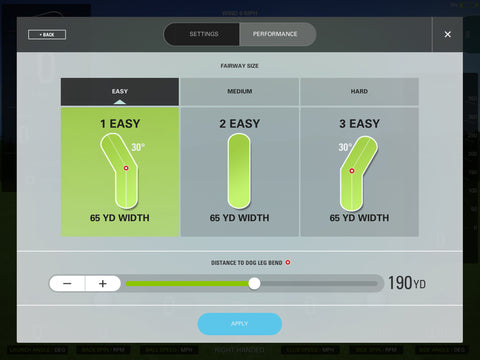 Skytrak game improvement give variable practice fairways to change the shape and challenge your ball striking accuracy and distances.