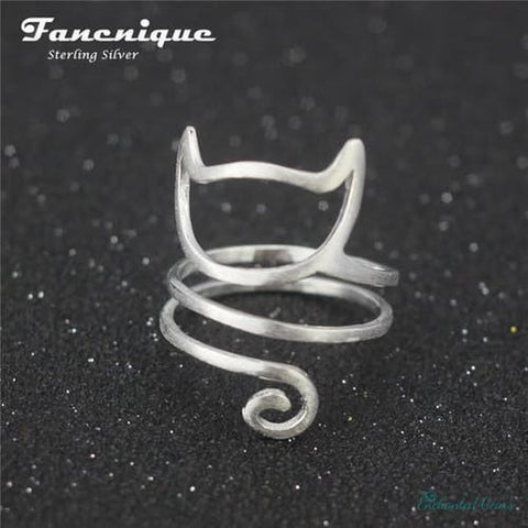 925 Sterling Silver Twine Cat Ring for Women (Adjustable )