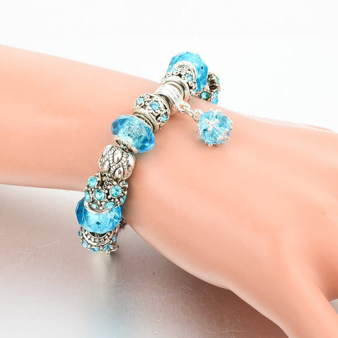 Authentic Tibetan Silver Blue Crystal Charm Bracelet