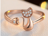 Cute cat with love heart  resizable open ring (2017 Design)