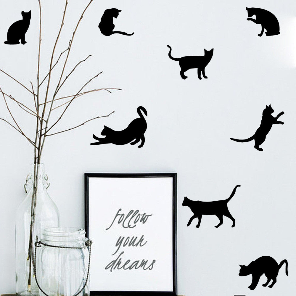 Variety Of Colors 9pcs/set Mini Style Cat Wall Sticker Vinyl Kids Rooms  Decoration Wall ...