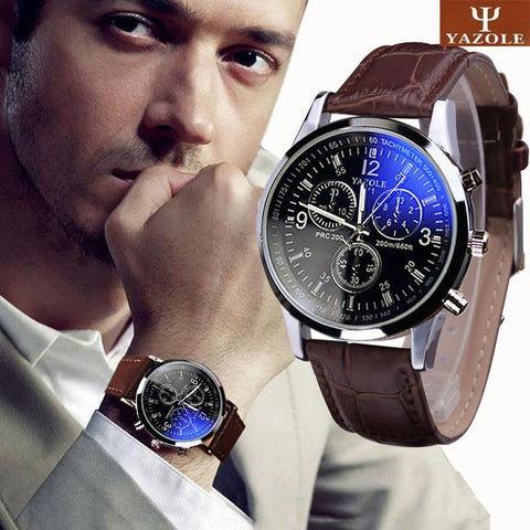 Leather Men Blue Ray Glass Quartz Analog Watches