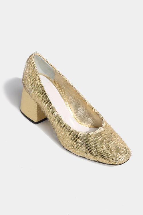 BB Gold Raffia Pumps - Lulu Be Mine