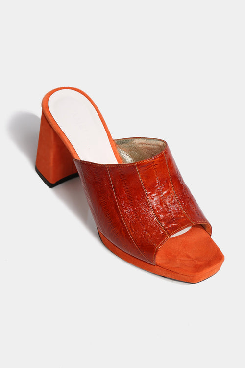 Janet (Orange) Patent Open-Toe Mules - Lulu Be Mine