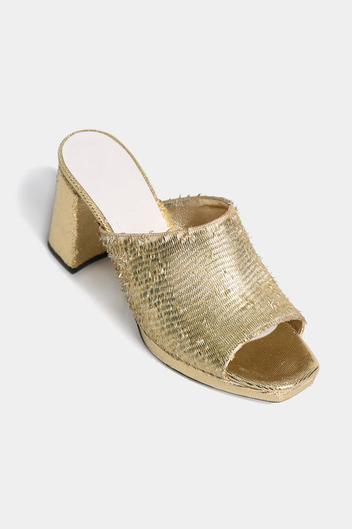 Janet Gold Open-Toe Mules - Lulu Be Mine