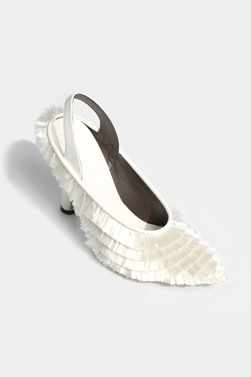 Pamela Sling Back Raffia Heel (White) - Lulu Be Mine