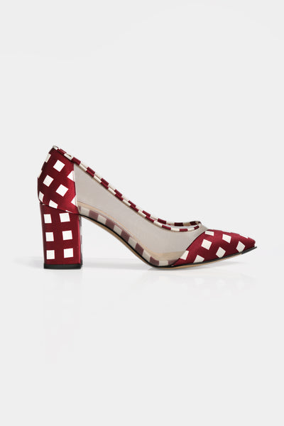 Lama Checkered Satin Pointed Heels - Lulu Be Mine