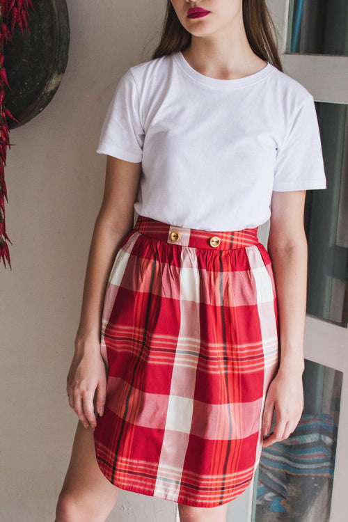 Red Checkered Skirt - Lulu Be Mine