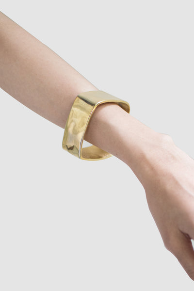 Hammered Square Bangle (Gold) - Lulu Be Mine