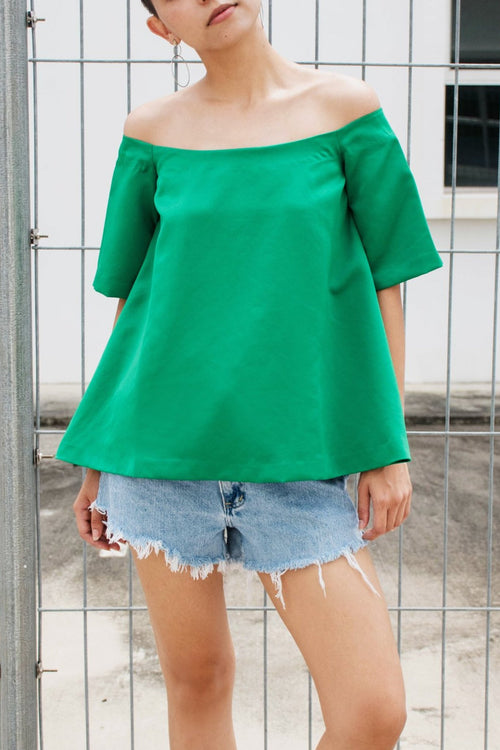Off Shoulder Satin Top - Lulu Be Mine