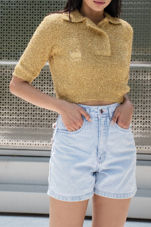 Cropped Polo Fur Lurex (Gold)