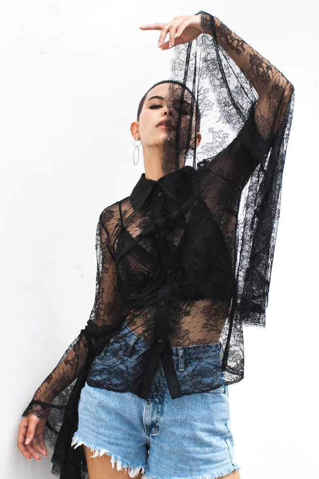 Octavia Sheer Long-sleeved Top - Lulu Be Mine