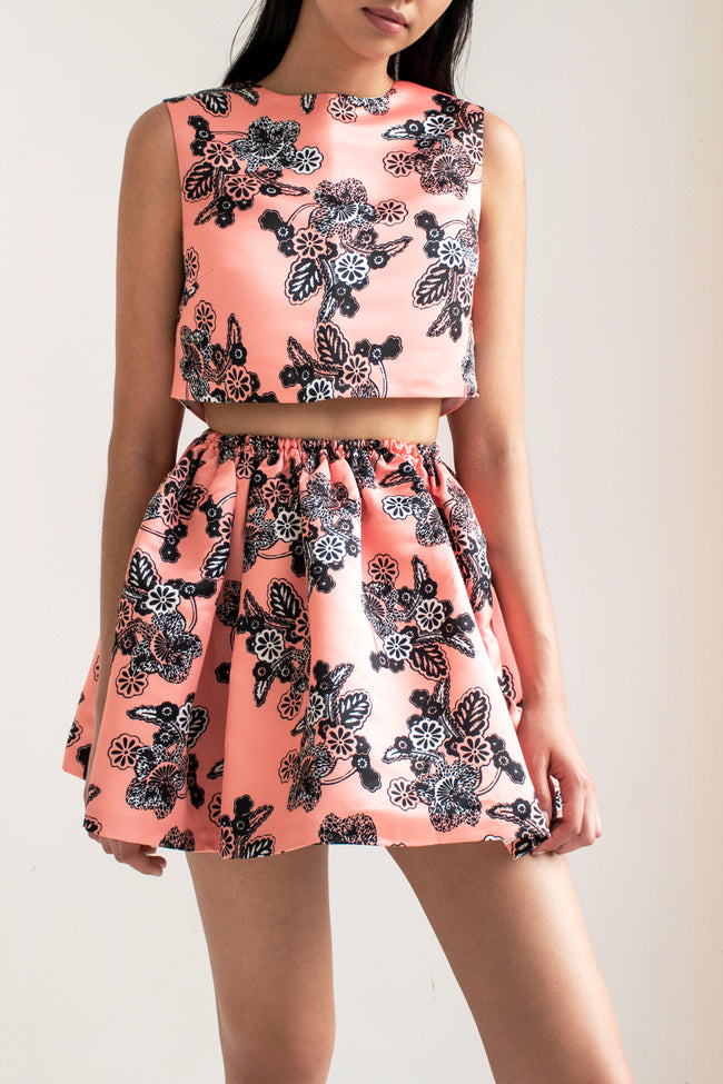 Gathered Skirt Printed Duchesse (Pink Flowers) - Lulu Be Mine