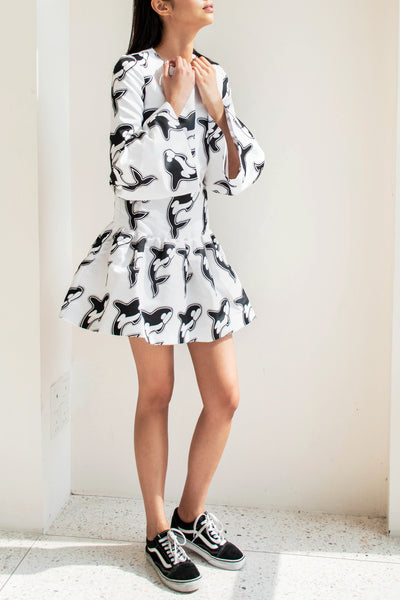 Dress with Multi Volant Printed Duchesse - Lulu Be Mine