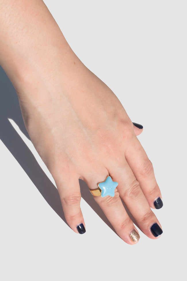 Ring With Enamel Star (Blue) - Lulu Be Mine