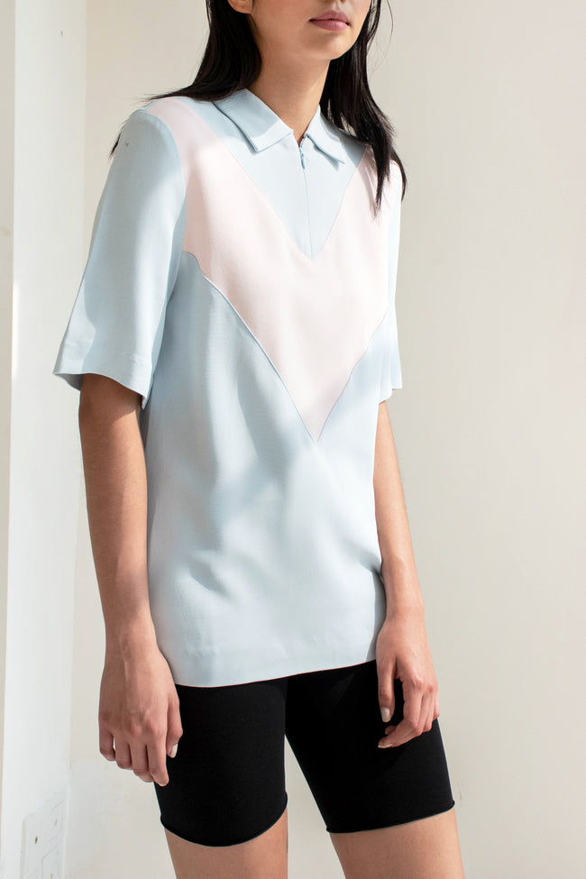 Cut Polo Shirt Crepe (Blue/Pink) - Lulu Be Mine