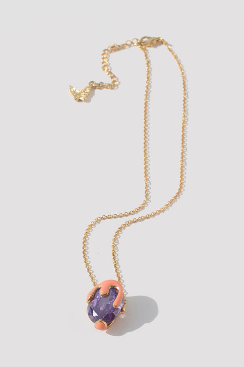 Dripping Paint Gem Necklace (Purple) - Lulu Be Mine