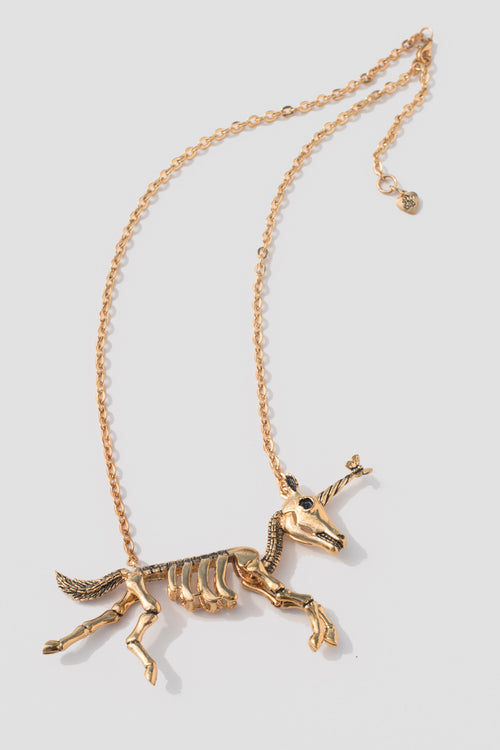 Dancing Unicorn Skeleton Necklace - Lulu Be Mine