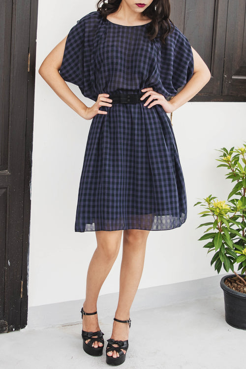Checkered Dress with Bow - Lulu Be Mine