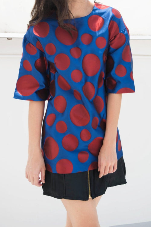 Jacquard Pois Top (Blue/Red) - Lulu Be Mine