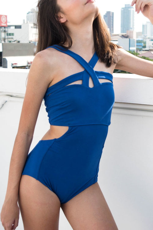 Crossfire Swimsuit (Blue) - Lulu Be Mine