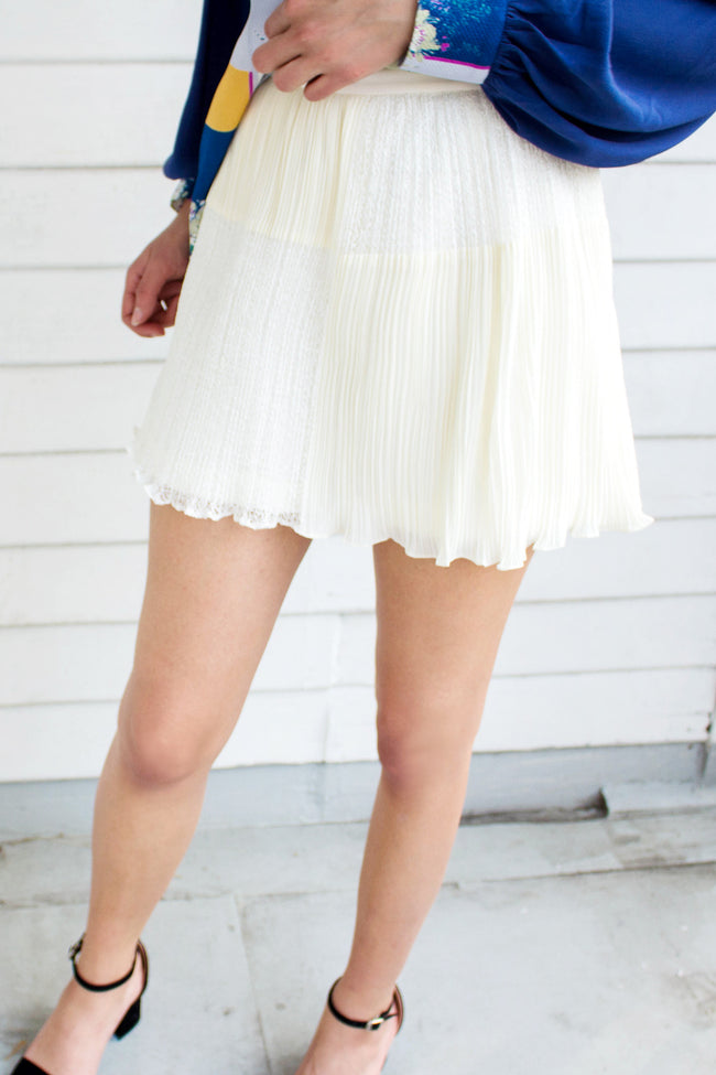 White Pleat Mesh Shorts - Lulu Be Mine