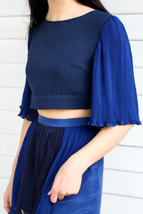 Blue Pleat Sleeve Cropped Top - Lulu Be Mine