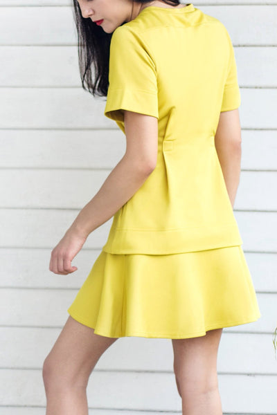 Front Pleat Short Sleeve Top (Yellow) - Lulu Be Mine