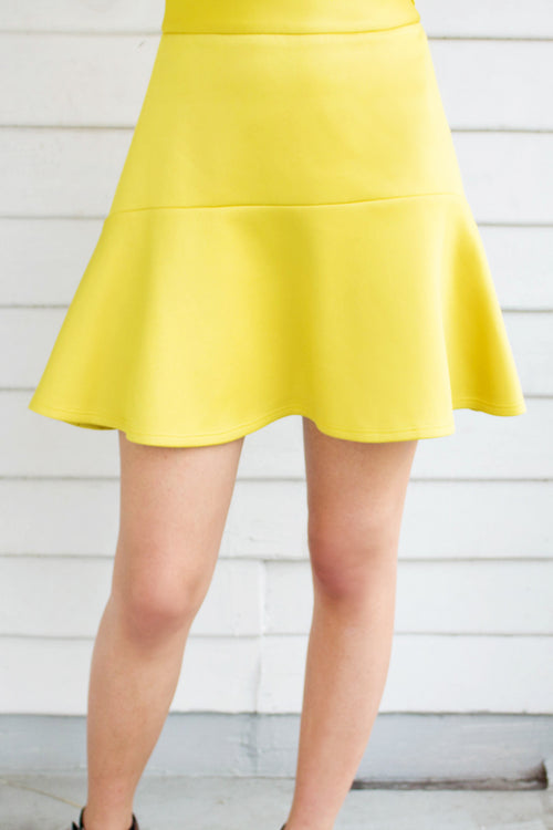 Flounce Mini Skirt (Yellow) - Lulu Be Mine