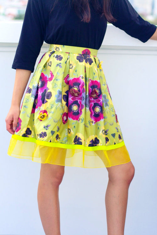Printed Embroidered Poppy Skirt - Lulu Be Mine