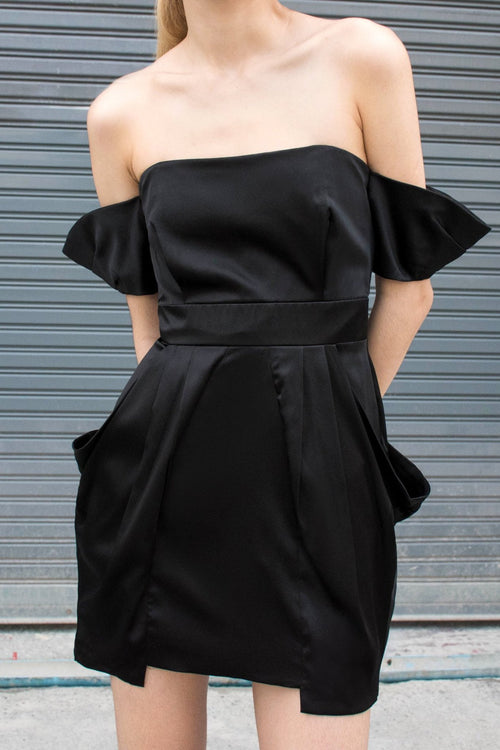 Off The Shoulder Dress - Satin - Lulu Be Mine