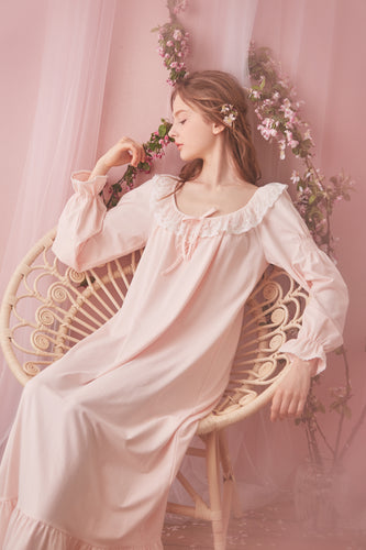 a9824f1c89 Sweet Desire Cotton Lace Royal Style Night Gown Long Sleeves Women Spring