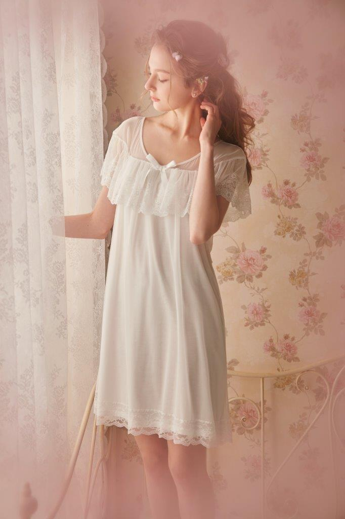 Prinsty Belle's words Cool Lace Short Sleeve Vintage Night Gown Summer