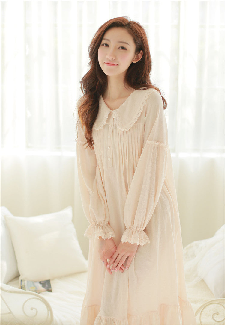 Vintage Royal Style Puff Sleeve 100% Cotton Night Gown Spring – Prinsty