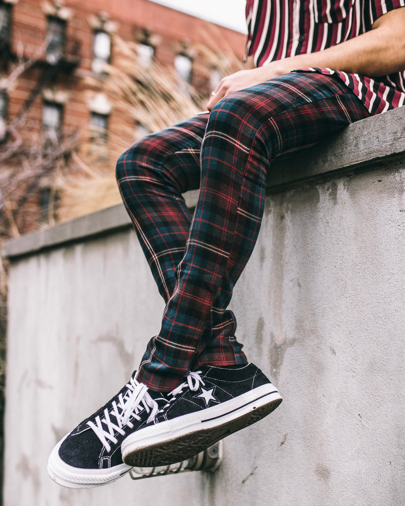 THE WOOL PLAID PANTS - FOREST